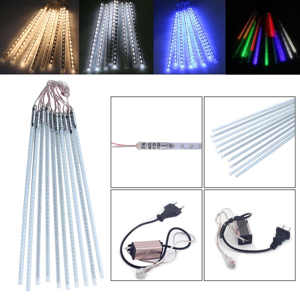 LED Christmas Xmas Lights 10pcs/set SMD2835 50cm Snowfall Tube Meteor Shower Rain Tube LED String Light Christmas Lights Outdoor