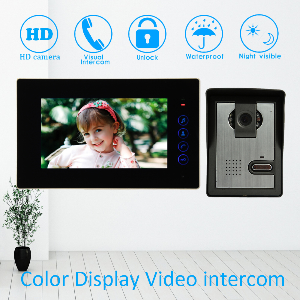 Black Color Like Glass Surface 7'' House Use Video Intercom System Door Phone Digital Intelligent Doorbell Waterproof Unlock