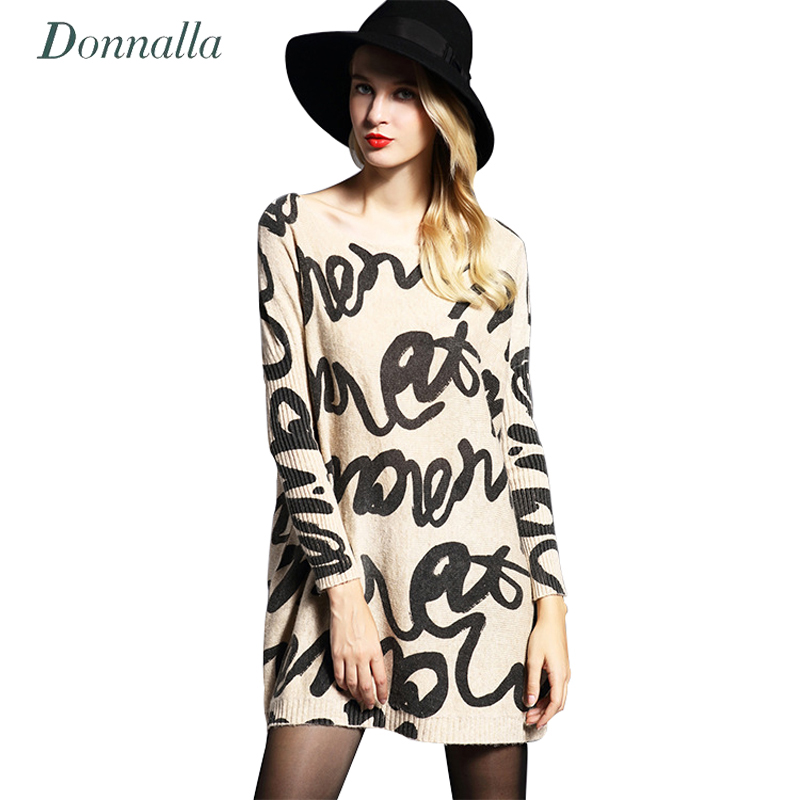 Donnalla Woman Autumn Letter Print Sweater 2017 New Female O Neck Long Sleeve Knitting Pullover Femme