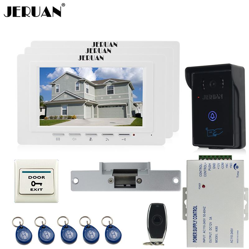 JERUAN three desk brand new 7`` TFT Video Door Phone System 700TVT Touch Camera+Cathode lock+Remote control Unlock saimi skdh145 12 145a 1200v brand new original three phase controlled rectifier bridge module