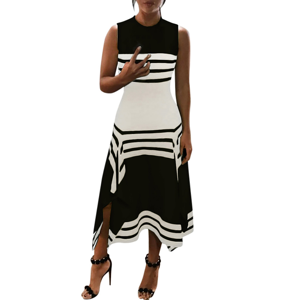 Women Summer Dress 2019 Fashion Stripe Sleeveless Casual Dress Women Round Neck Vestido Midi Party Casual Dresses Female