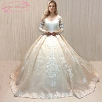 SuperKimJo 2018 Long Sleeve Wedding Dresses Luxury Lace Applique Gorgeous Chapel Train Wedding Ball Gown Robe