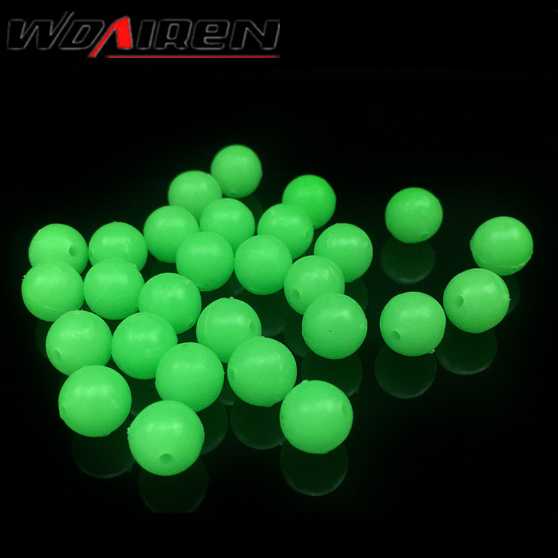 100Pcs/lot 5mm Round Luminous Glow Rig Beads Sea Fishing Lure Floating Float Tackles WD-057 ugob77 200pcs lot 4mm 6mm premium orange color oval soft sinking luminous beads elastic fishing glow fluorescent bead top grade