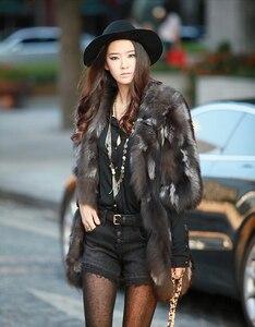 Image 3 - Veste longue en fourrure de renard naturelle, nouvelle mode femme, pour manteau chaud dhiver FP335