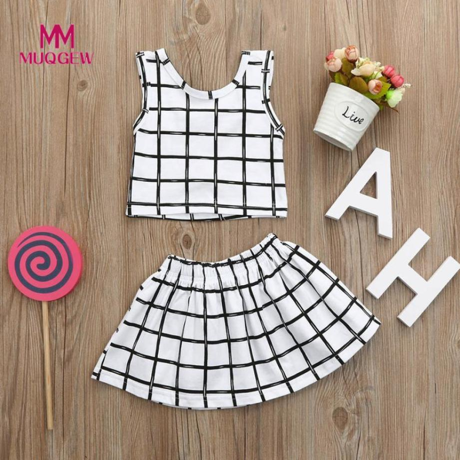2018 MUQGEW brand 2pcs Toddler Infant Baby Girls Plaid Print Clothes Short sleeve Tops+Skirts Plaid Outfits Set hot sale menina