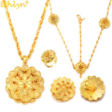 Ethlyn  Wholesale Ethiopian Jewelry Sets Cheap Bridal Flower Party Four Pcs Wedding Sets African Gold Plating Accessories S323