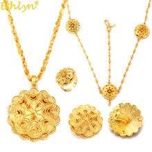Ethlyn hurtownie zestawy biżuterii etiopskiej tanie kwiat ślubny Party cztery szt zestawy ślubne afryki złoty poszycia akcesoria S323