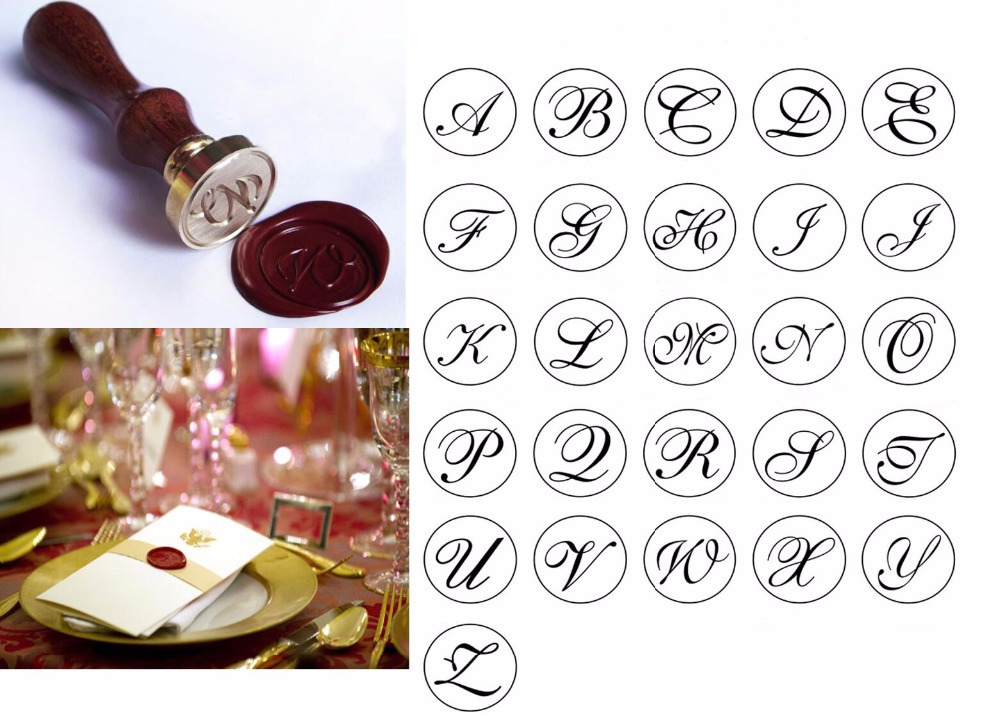 free shipping 1pcs new vintage retro personal alphabet initial letters wax seal stamp wood handle letter a z wedding logo in stamps from home garden on