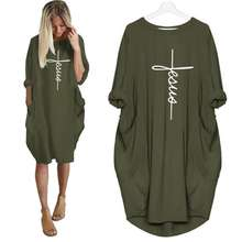 New Arrival Pocket Faith Letters Print Dress for Women Plus Size Women Dress Tops Vestidos Female Summer Dress