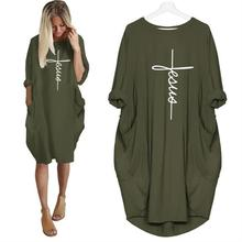 Pocket Faith Letters Print Dress for Women Plus Size Tops Vestidos Female Summer 2019 New Arrival Dropshipping