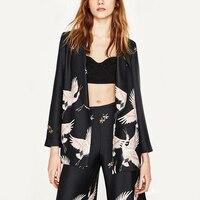 New Ms Blazers Fashion Kimono Floral Cranes Black Sashes Suit Slim Leisure Jacket OL Women Cardigan