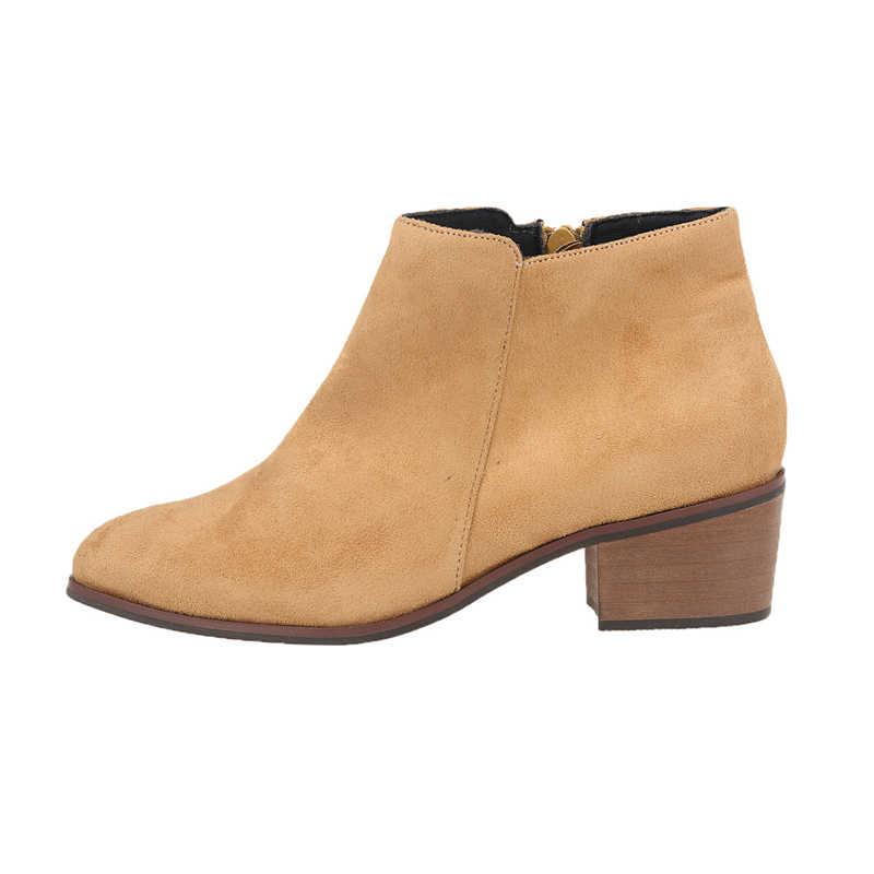 Marka Tasarımcıları 2018 Yeni Bahar Sonbahar Kadın Ayakkabı Siyah Kare Yüksek Topuklu Çizmeler Zip yarım çizmeler Boyutu 35-42 NLK-C0168