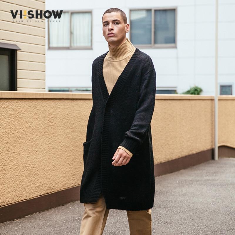 VIISHOW Cardigan Hommes Chandails 2017 Tricots Bouton Long Mens Cardigans Top Qualité Marque Vêtements Mâle De Noël Manteau ZC1760173