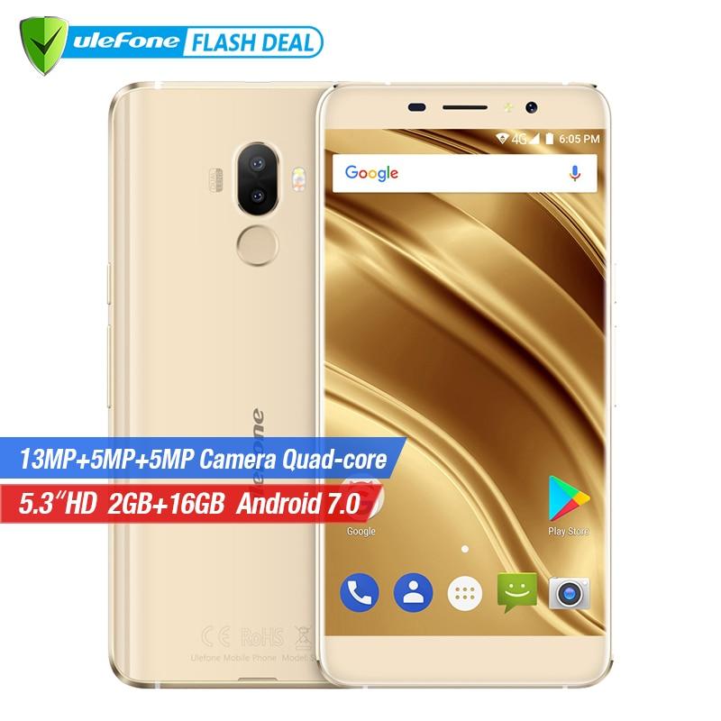 Ulefone S8 Pro Mobile Phone 5.3 inch HD MTK6737 Quad Core Android 7.0 2GB+16GB Dual camera 13MP Fingerprint 4G mobile phone