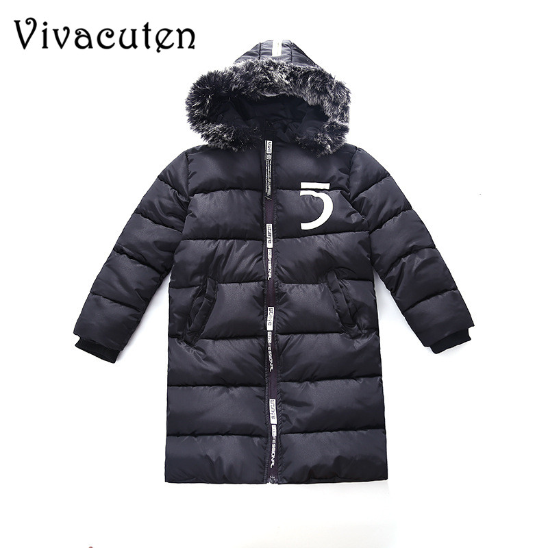 2018 Kids Long Parkas For Boys Fur Hooded Coat Winter Warm Army Green Black Down Jacket Teens Children Outerwear Thick Overcoat 2017 new kids long parkas for girls fur hooded coat winter warm down jacket children outerwear infants thick overcoat 3t 14t