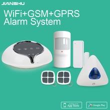Хороший дизайн GSM WiFi сигнализация беспроводная домашняя охранная сигнализация с управлением приложением 110дб беспроводная домашняя сирена сигнализация