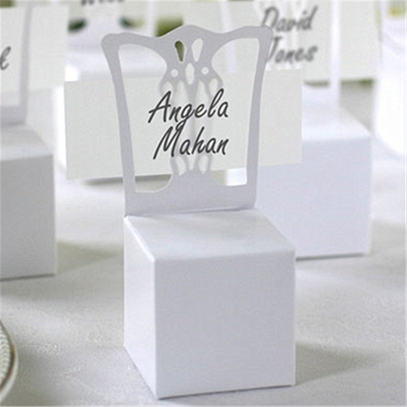100pcs White Chair Place Card Holder And Favor Box Best For Candy