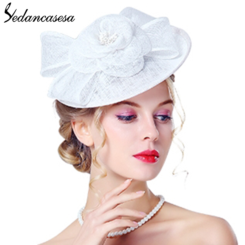 Sedancasesa Fascinator cocktail hats for women French Formal Sinamay Hat Ladies Party Church hat girl Hair Band Accessories