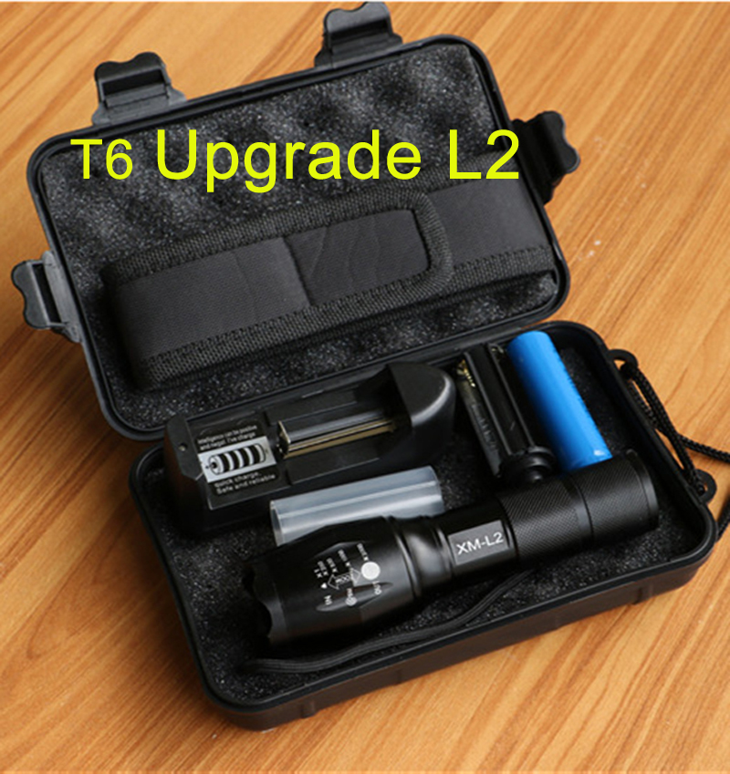 8000 Lumens Flashlight 5Mode CREE XM-L2 LED Flash light Zoomable Torch for camping With 1*18650 Battery+charger+holster+free box e17 xm l t6 3800 lumens zoomable led flashlight torch light 2 4200mah 18650 rechargeable battery charger holster