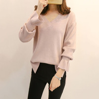 Women Loose Sweater Fall Asymmetric Patchwork V Neck Long Sleeve Flare Sleeve Pullovers Female Sweety Beauty