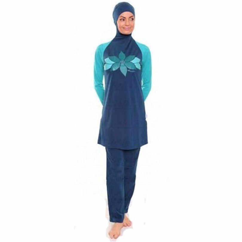 4XL-S 2 Pc/set Baru 2018 Plus Ukuran Pinggang Tinggi Pakaian Renang Ukuran Besar Muslim Pakaian Renang Baju Renang untuk Wanita Muslim Islam baju Renang