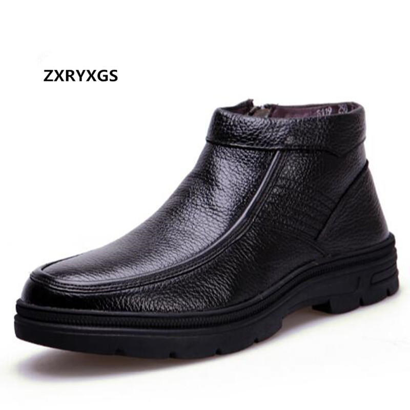 2019 New Fashion Warm Comfort Wool Winter Boots Casual Shoes Men Boots Flat Non slip Cowhide
