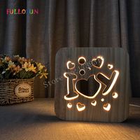 I Love You 3D Wooden Lamp Romantic LED Warm Night Light Sleep Light for Family Christmas Gift