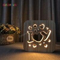I Love You 3D Wooden Lamp Romantic LED Warm Night Light Sleep Light for Family Christmas Gift