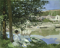 landscape framesless canvas painting scenery masterpiece reproduction Seine river side by Claude Monet
