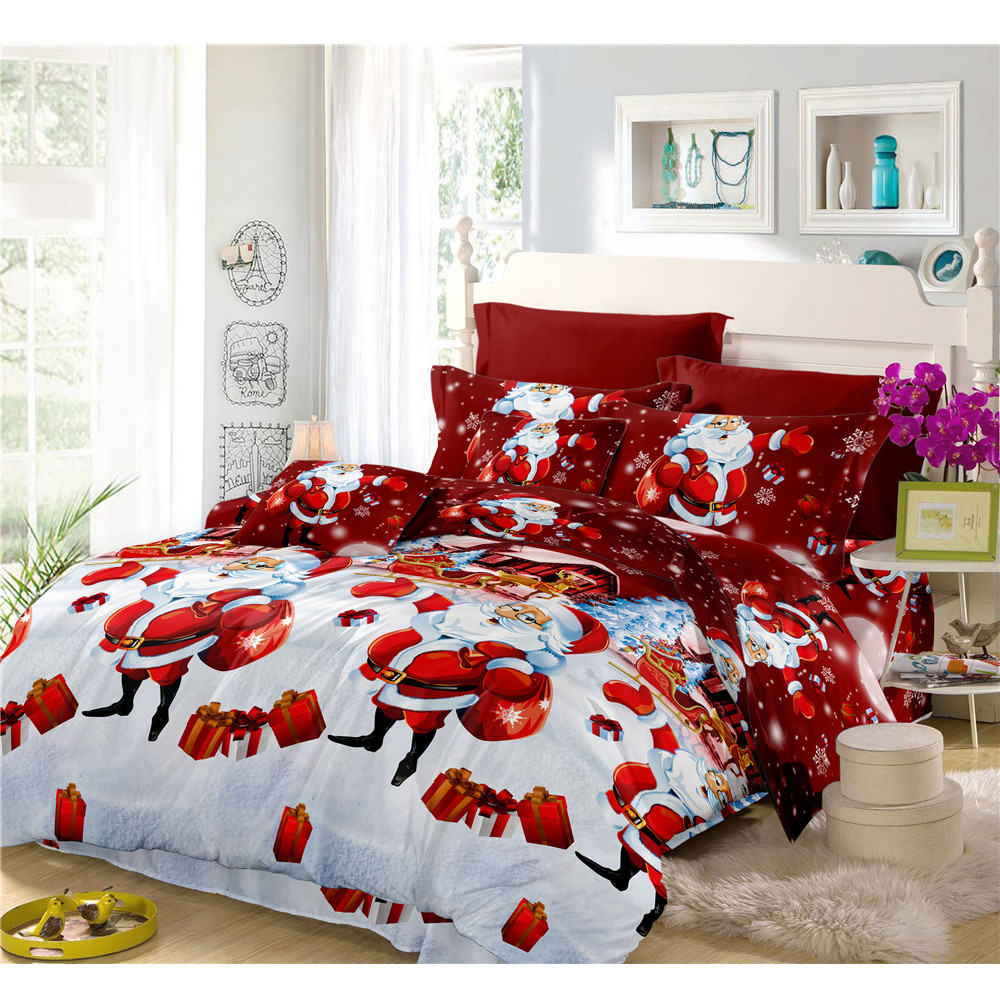 Merry Christmas Bedding Set 3D Cartoon Santa Claus Print Duvet Cover Pillowcase Bed Sheet Cover Bed Linens Home Decor 4Pcs C49Merry Christmas Bedding Set 3D Cartoon Santa Claus Print Duvet Cover Pillowcase Bed Sheet Cover Bed Linens Home Decor 4Pcs C49