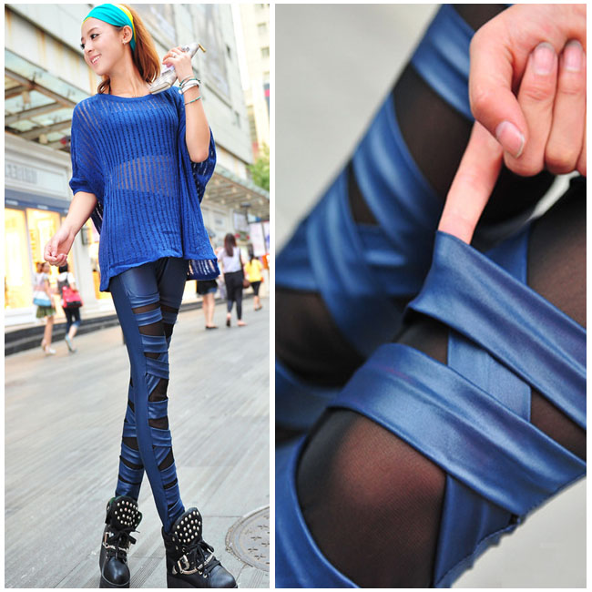 Free Shipping Sexy Hole Patchwork Full Ankle-length Trousers Imitate Leather Cross Straps  Women Pants Free Shipping