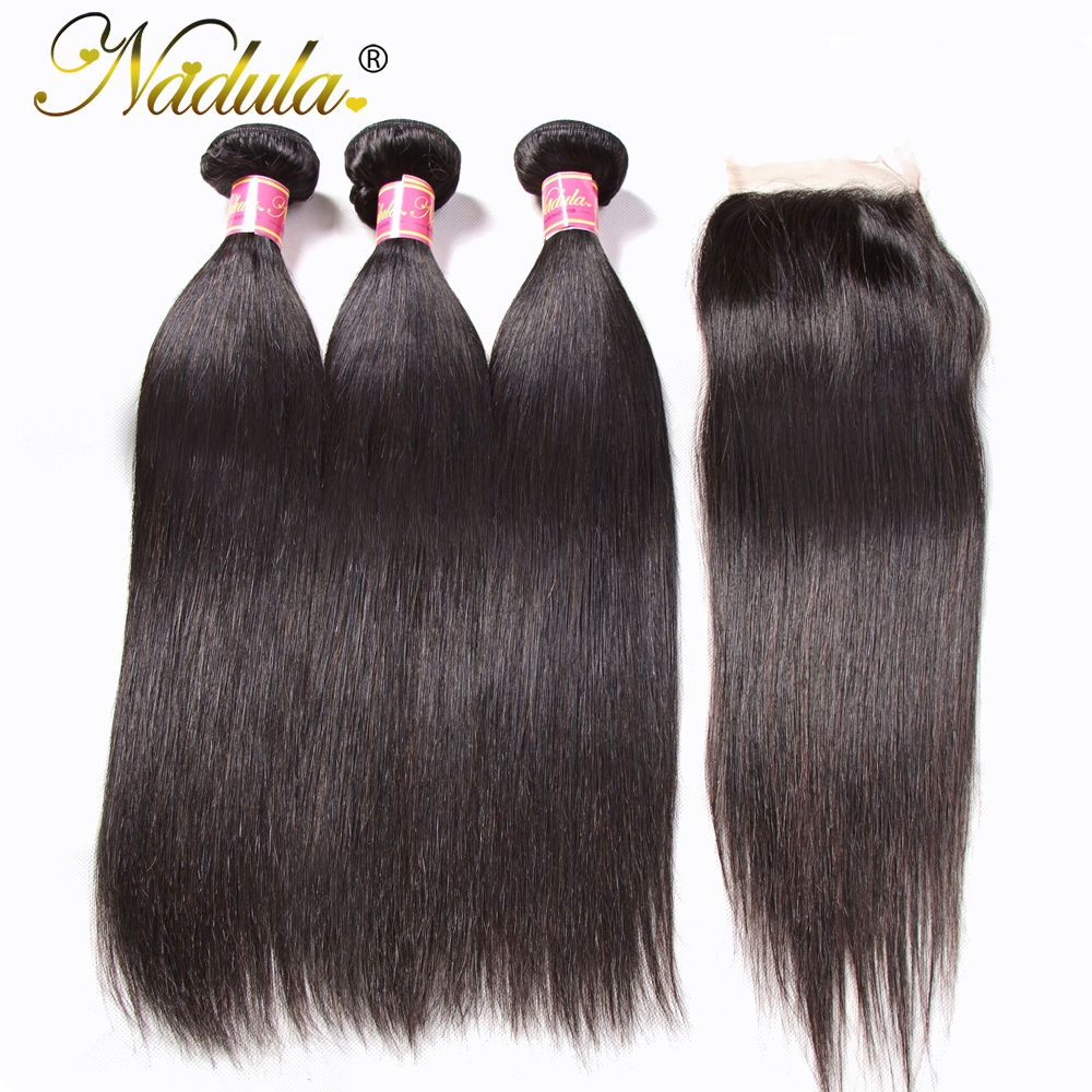 Nadula Hair Peruvian Straight Hair Bundles With Closure 3PCS Peruvian Hair Straight Remy Human Hair Bundles