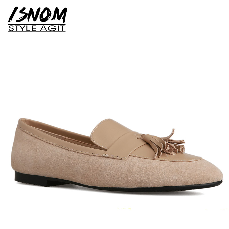 ISNOM Tassel Fashion Casual Flats Women Square Toe Footwear Kid   Suede   Shoes Female   Leather   Loafers Shoes Woman 2019 New Spring