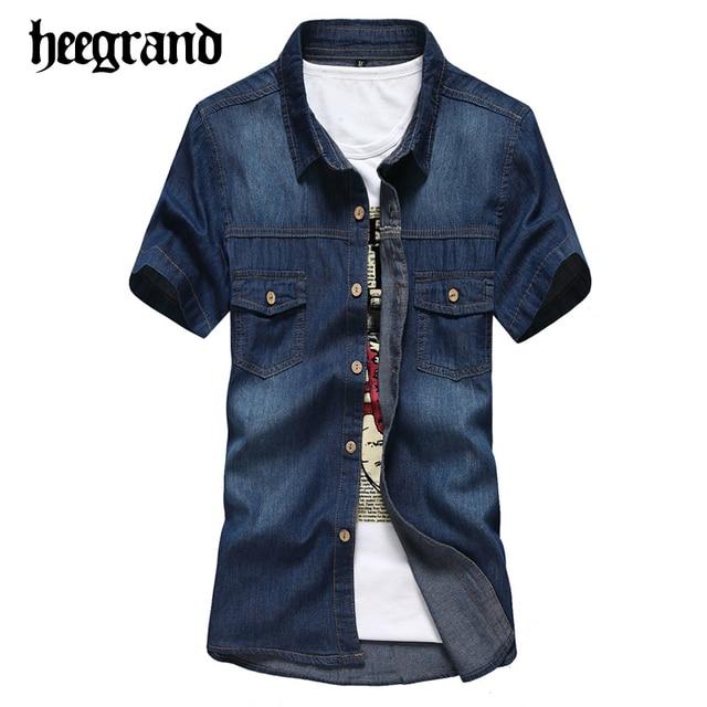 f23e635bc12 HEE GRAND 2017 New Spring Men Denim Shirt Men s Casual Slim Short Sleeve  Shirts Chemise Homme