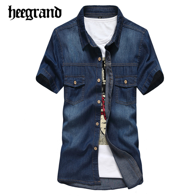 Hee grand 2017 nova primavera men denim shirt dos homens casual fino manga curta camisas chemise homme mcs652