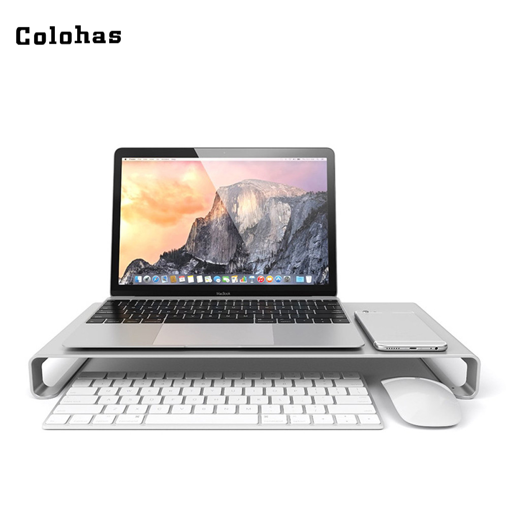 Monitor Stand Silver Aluminum Alloy Laptop Holder Multifunction Computer Shelf for iMac Macbook ASUS HP aluminium alloy headset stand holder