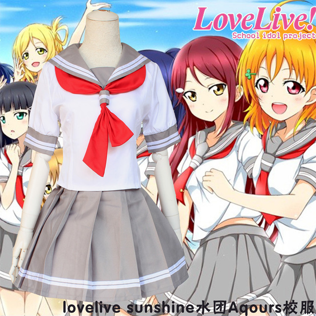 Aqours Cosplay Costume Japanese Anime Love Live Adult Summer Sailor School