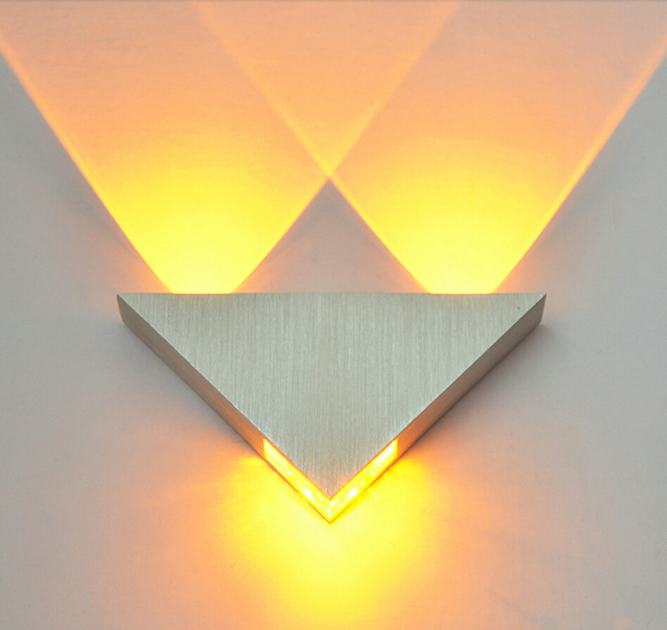 Moden Led Wall Light 3W Aluminium Body Triangle Wall Light Untuk Lampu Depan Bilik Mandi Luminaire Mandi Light Fixture Wall Sconce
