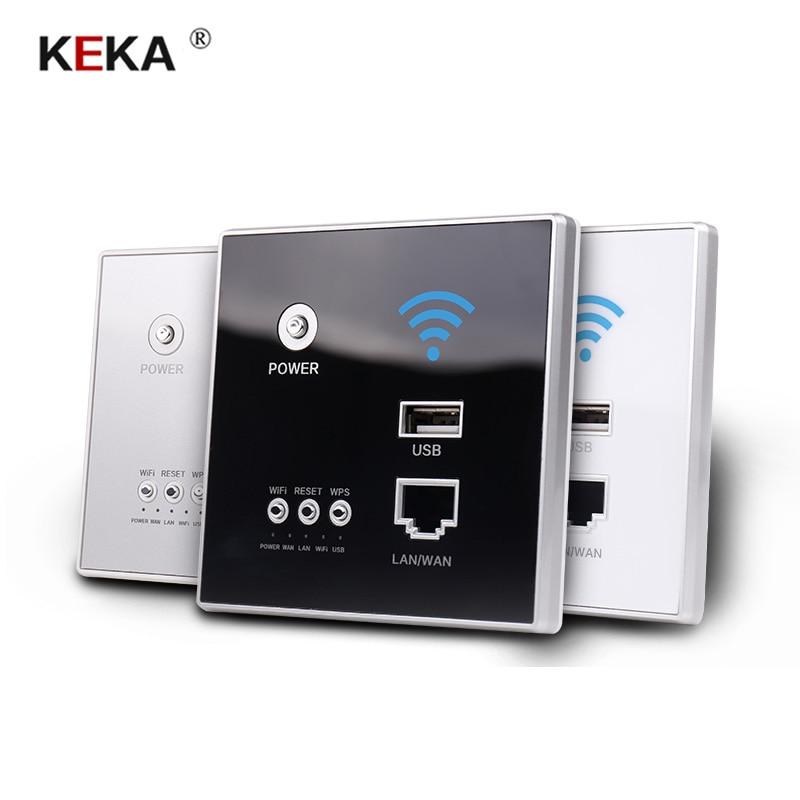 KEKA 300Mbps 220V Power AP Relay Smart Wireless WIFI Repeater Extender Wall Embedded 2.4Ghz Router Panel RJ45 Network Socket Usb