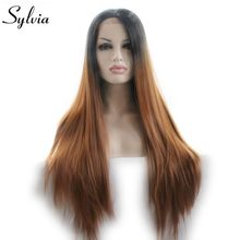 Sylvia Natural Black To Brown Ombre Straight Synthetic Lace Front Wigs Heat Resistant Fiber Long Soft Hair Wig For Women