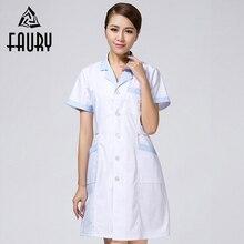 ed31456118f Men Women Lab Coat Suit Collar Short Sleeve Nurse Uniform Summer Doctor  White Coat Dental Beauty