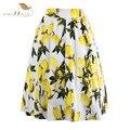SISHION 50s Floral Skirts Womens faldas Summer Blue Yellow Lemon Plus Size Retro Casual Vintage Midi Skater Pleated Skirt VD0355