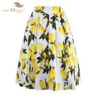 50s Floral Print Skirts Womens Faldas Summer Yellow Lemon Plus Size Retro Casual Vintage Midi Skater