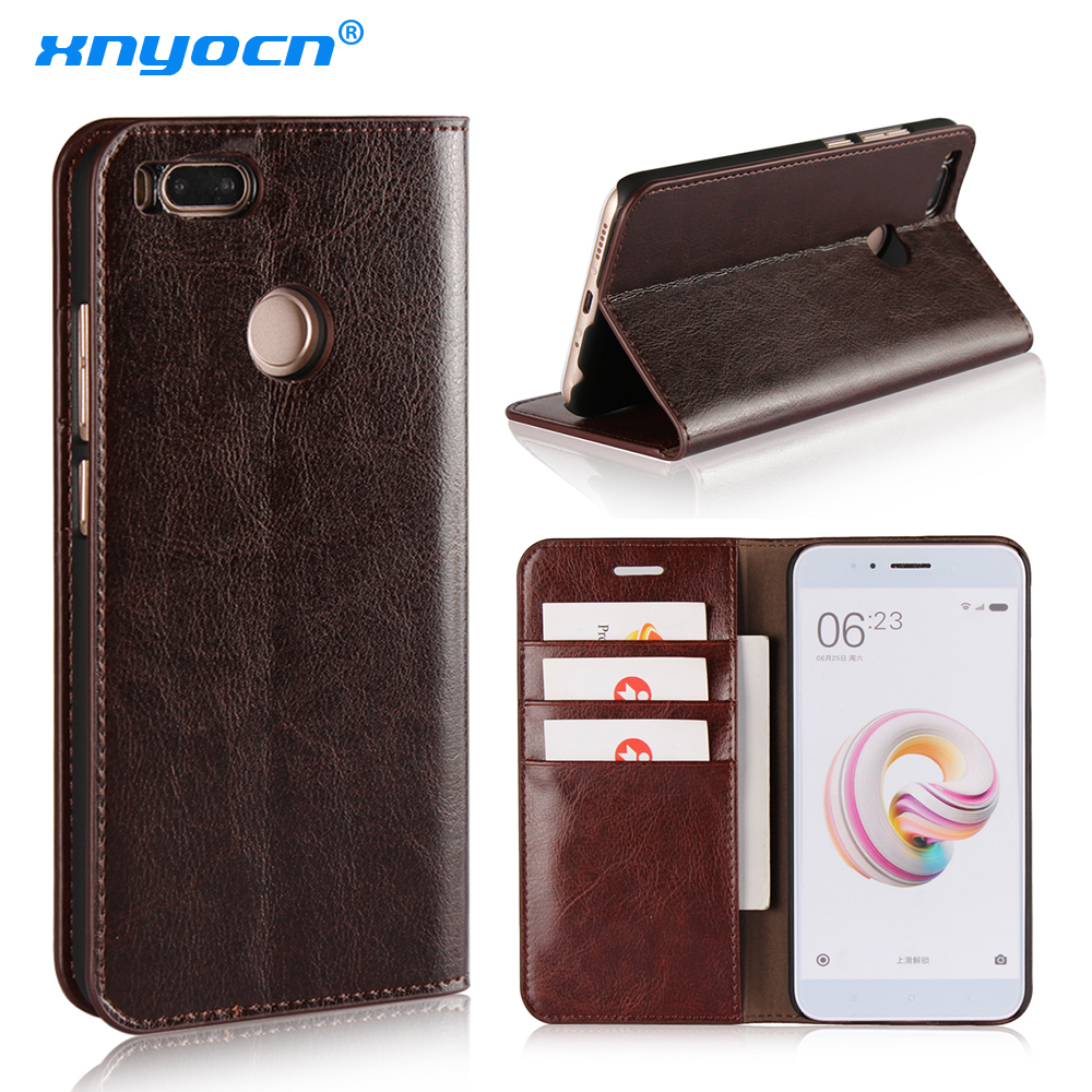 Xnyocn Geniune Leather Flip Case for Xiaomi Mi A1 Wallet Funda Book Cover for Xiaomi Mi A1 Global Version Xiomi MiA1 5X Coque