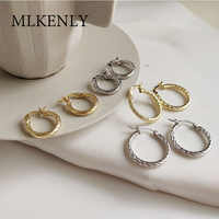MLKENLY 100% 925 Sterling Silver Gold Silver Endless Circle Hoop Earrings For Women Personality Twist Wire Opening Earring
