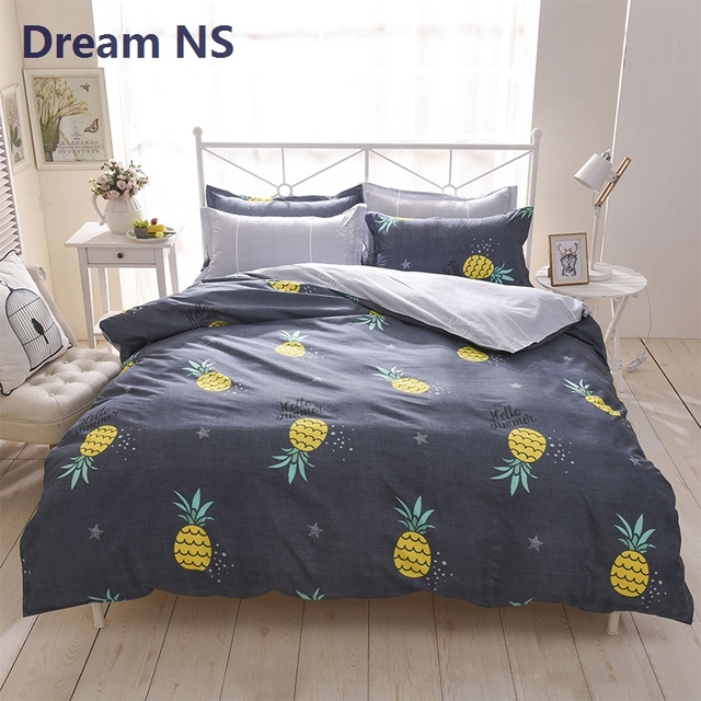 AHSNME Pineapple Bedding Set Sweet Fruit Duvet Cover Child Bed Covering Soft Bedspread Euro King Queen Size Customize