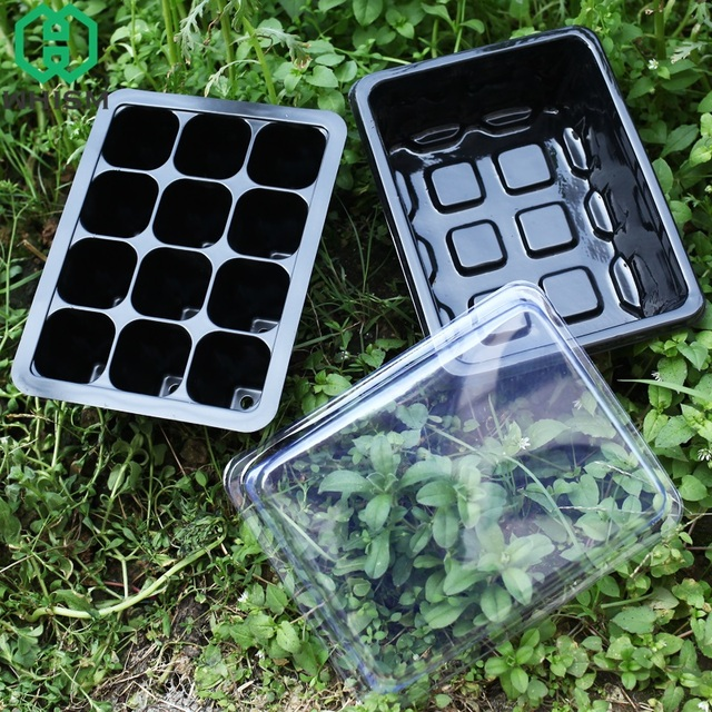 WHISM Plastic Nursery Pots Plant Seeds Germination Tray Hydroponic Grow Box Flower Pot Seedling Tray Succulent Planter with Lids
