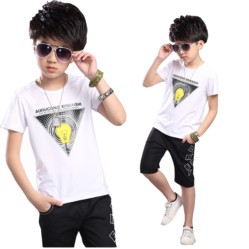 boy clothes sets new 2016 children summer sleeve suit big boy white T-shirt + shorts two-piece teenage casual sport suit retail