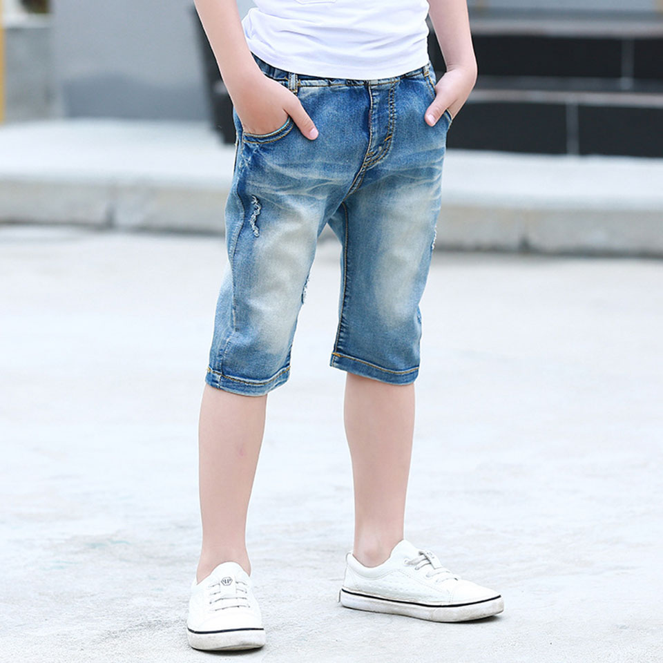 Height 110-160cm Fashion Infant Baby Boy Jeans Shorts Summer Toddler Denim Shorts Casual Elastic Waist Pants For Kids Boys Cloth