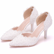 White Lace Flower Wedding Shoes Slip On Pointed Toe Bridal Shoes High Heel Women Pumps Shallow Pointed Toe Sandals XY-B0238 стоимость